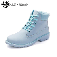 Fashion Women Boots PU Leather Shoes Ankle Martin Boots Warm Ladies Boots Winter Shoes Woman Fur