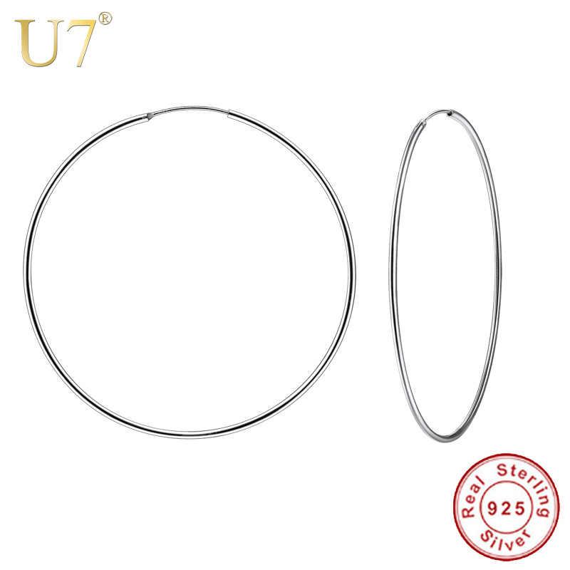 13d7a5bfa U7 925 Sterling Silver Hoop Earrings Round Design Geometric Wedding Big  Earring 2018 Mother's Day Gift