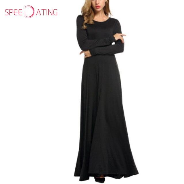 0bb24d00cc Newest Round Neck Plain Long Sleeve Maxi Dress Round Neck Ankle Length  Autumn Solid Dark red Black Women Long Dress SPEEDATING