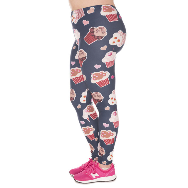 2dbca29d21880 JIGERJOGER FUNNY Dark red paper cake 3D digital print Plus size Stretchy Footless  Tights Ankle leggings women's dance tight pant