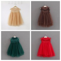 Everweekend Girls Tulle Lace Party Dress Multi Color Princess Costumes Holiday Dress for 2-7 Years old