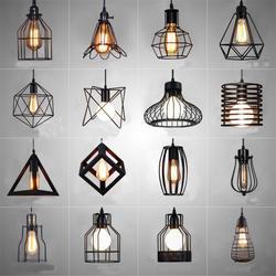Nordic светодио дный LED открытый подвесные светильники Ретро Промышленные стиль Кофе Ресторан личность бар железной клетке книги по