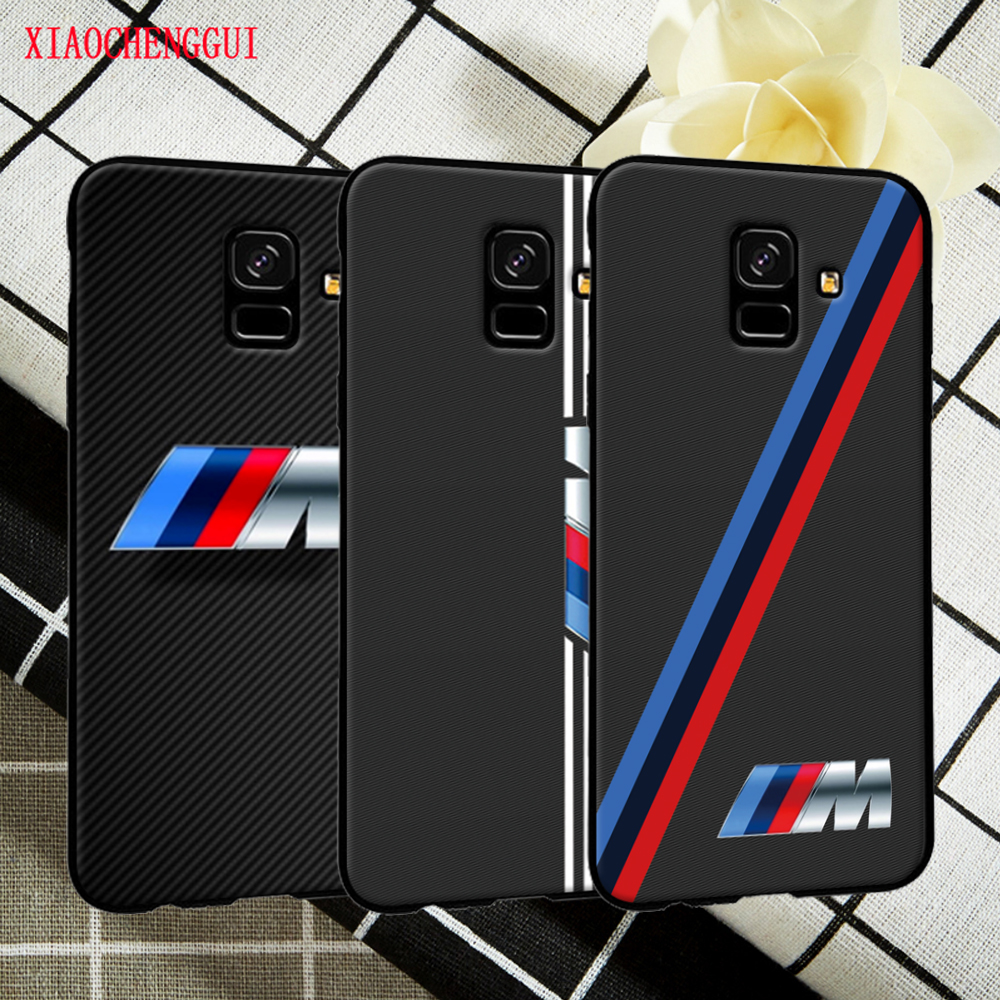 For font b Samsung b font A6 case Beautiful and luxurious BMW standard black soft silicone