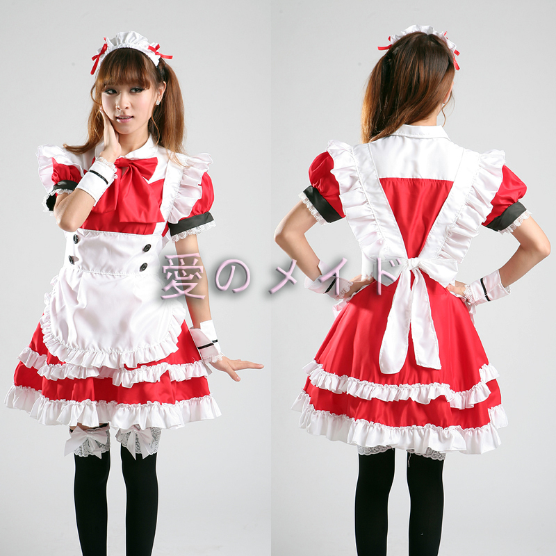 Free Shipping Cheap red Lolita Maid anime cosplay clothing women's costume Halloween Dress