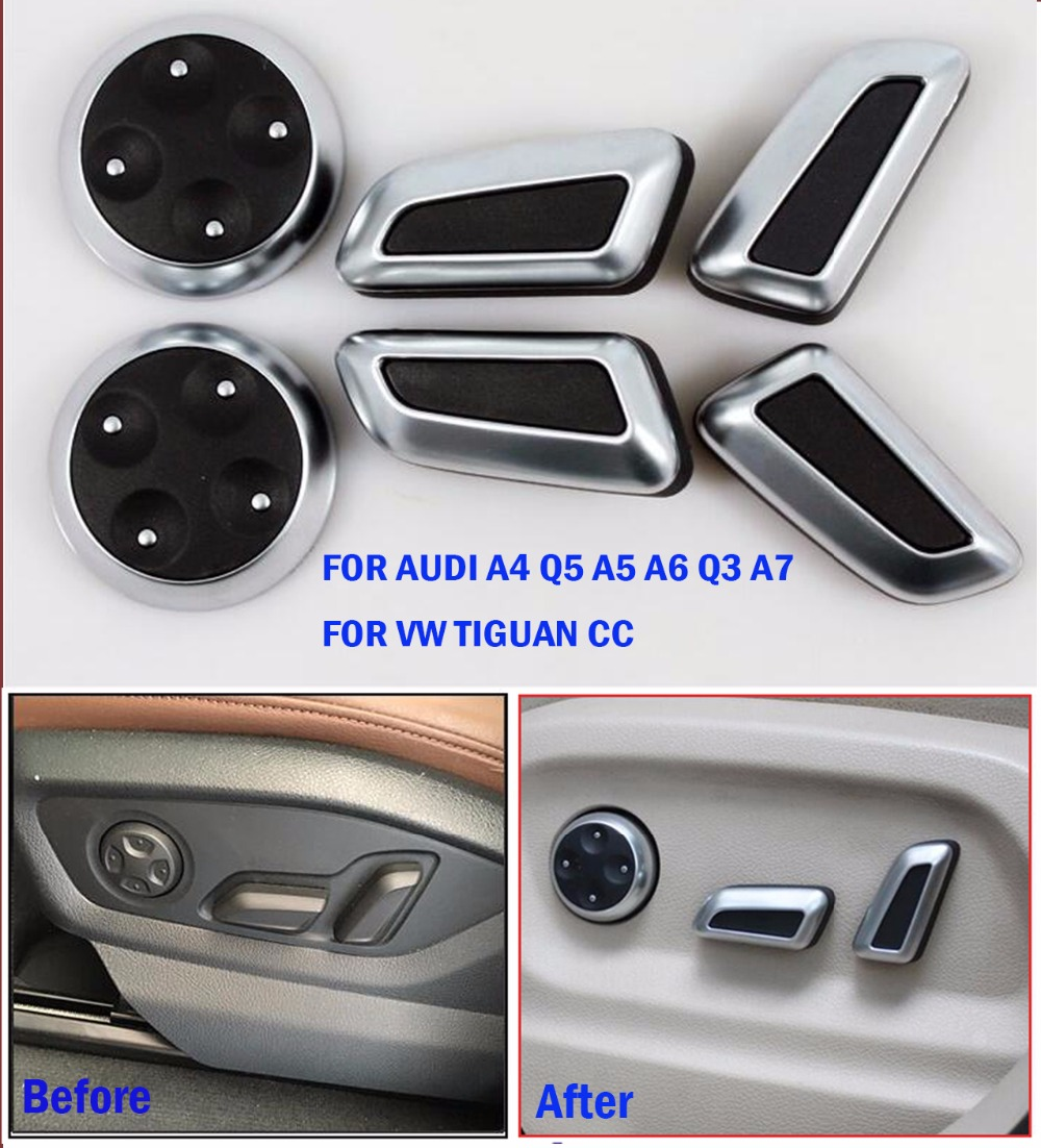 TTCR-II Car Accessories Seat Adjust Button Cover Trim Chrome For Audi A4 Q5 A5 A6 Q3 A7 VW Volkswagen Tiguan CC Button Stickers ttcr ii car accessories for audi a4 a5 a6 a7 a8 q5 s4 s6 s7 sq5 at mt accelerator brake clutch pedal pad pedales stickers