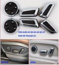 TTCR-II Car Accessories Seat Adjust Button Cover Trim Chrome For Audi A4 Q5 A5 A6 Q3 A7 VW Volkswagen Tiguan CC Button Stickers