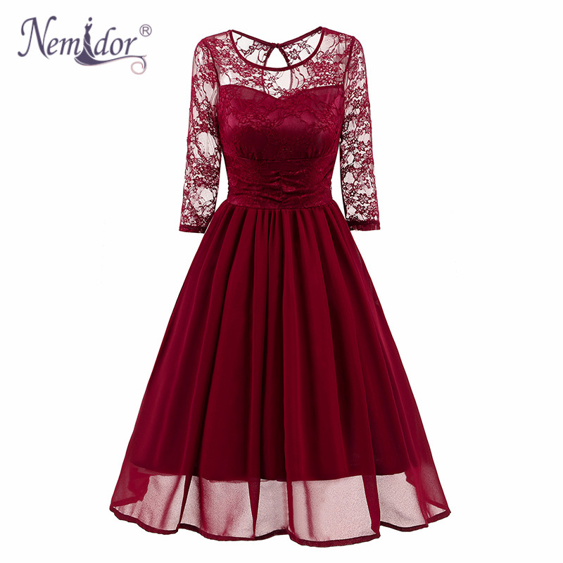 Nemidor 2018 Women O-neck Casual Midi Chiffon Swing Dress Vintage 3/4 Sleeve Patchwork Cocktail Lace A-line Dress