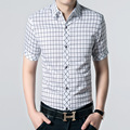 Free shipping 2017 Summer 100% cotton short sleeved shirt slim fit plaid shits for men bussines casual dress shirts large size