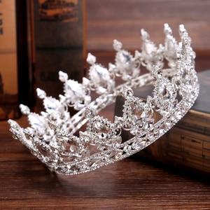 Винтажная тиара в стиле барокко, королевская тиара, корона для невесты, женский головной убор, свадебные тиары и короны, украшения для волос,...