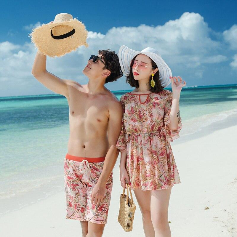 Couples swimwear women one piece swimsuit long sleeve cover up men shorts trunks beach wear maillot de bain femme 2018 une piece