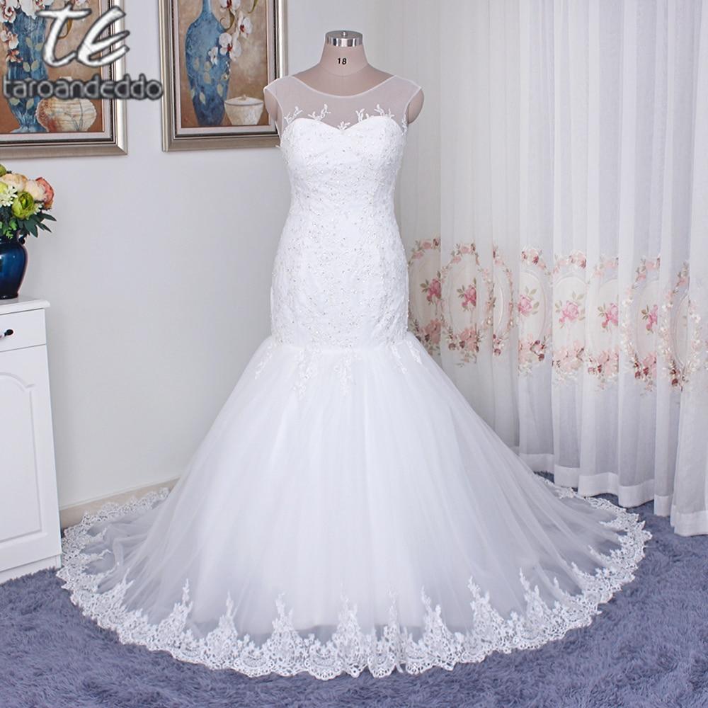 Jewel Neckline Applique Lace with Crystals Mermaid Plus Size Wedding ...