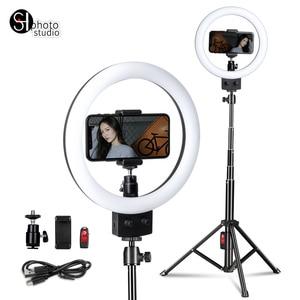 Image 4 - Photographie LED Selfie lumière annulaire 16/23cm lumière de Studio Photo à intensité variable avec Mini trépied prise USB pour maquillage Youtube vidéo en direct