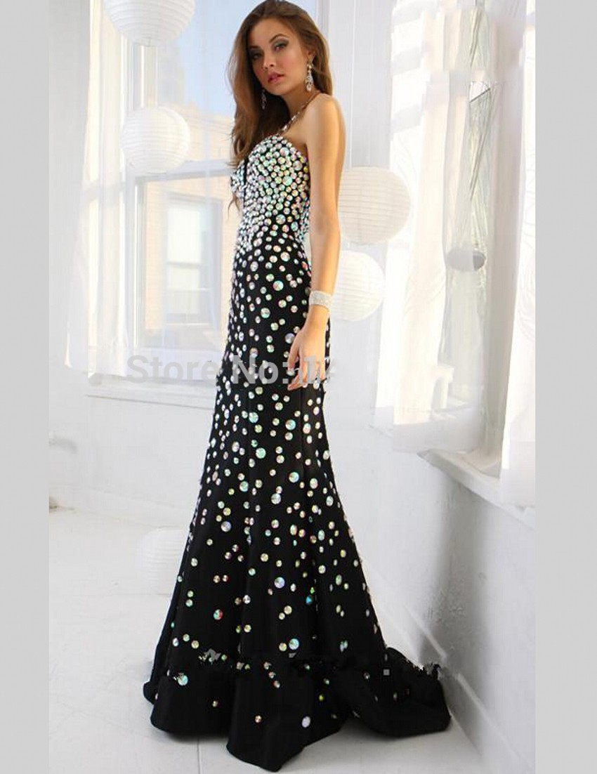 Sexy Long Crystal Mermaid Evening Dresses Black Formal Floor Length ... 77aabf2a3a6a
