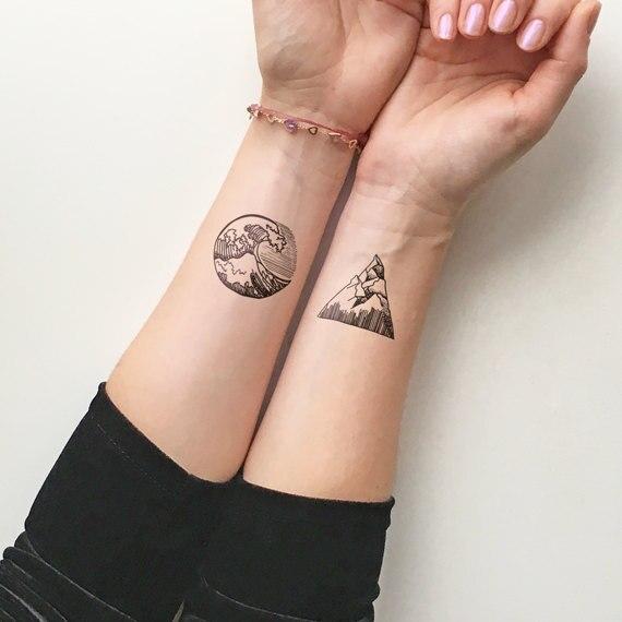 Водонепроницаемый временные поддельные татуировки наклейки Прохладный океан волна Mountain Дизайн тела Книги по искусству макияжа