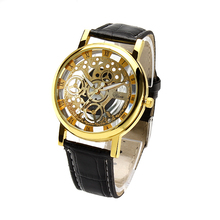 Hot selling mens womens watches brand luxury Imitation mechanical watches PU leather strap quartz wristwatches relogio masculino