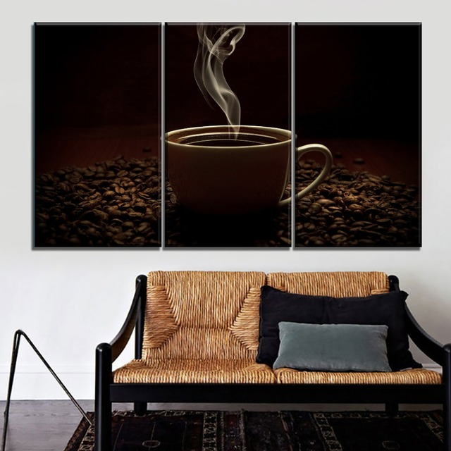 Combinatorial Art Modular Picture 3 Piece Coffee Beans And Hot Black Coffee Canvas Printing Type Poster Cafe Wall Decorative