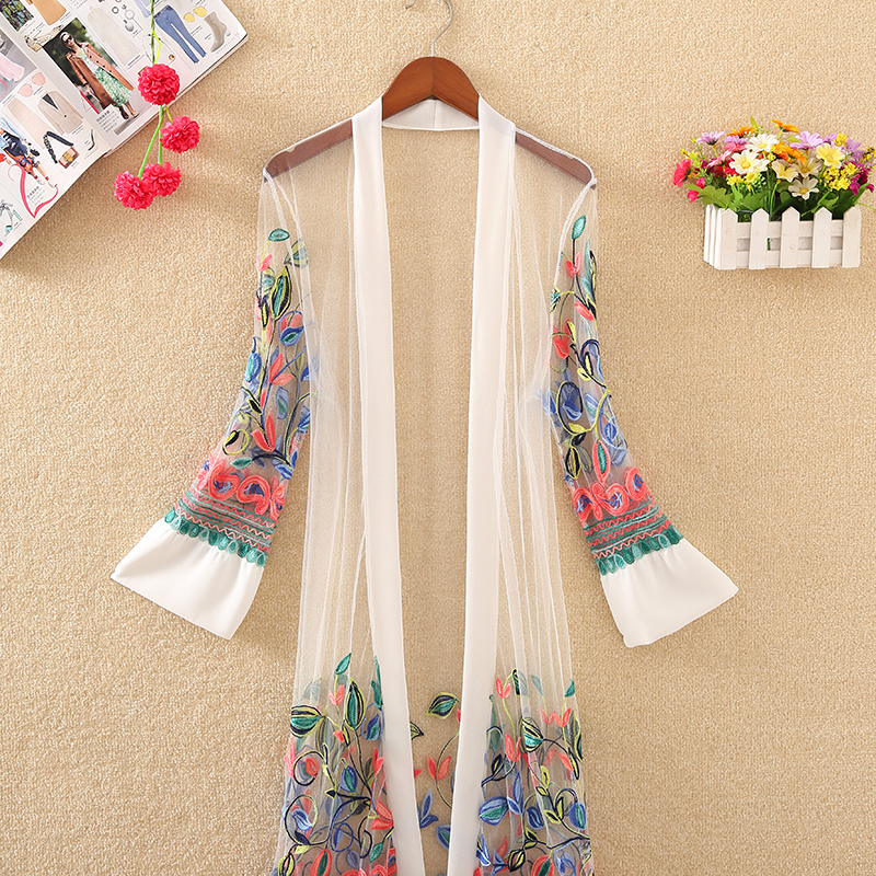 New Women Floral Embroidered Long Jacket Summer Net Cardigan Casual Long Sleeved Thin Coats Ladies Vintage Beach White Outerwear