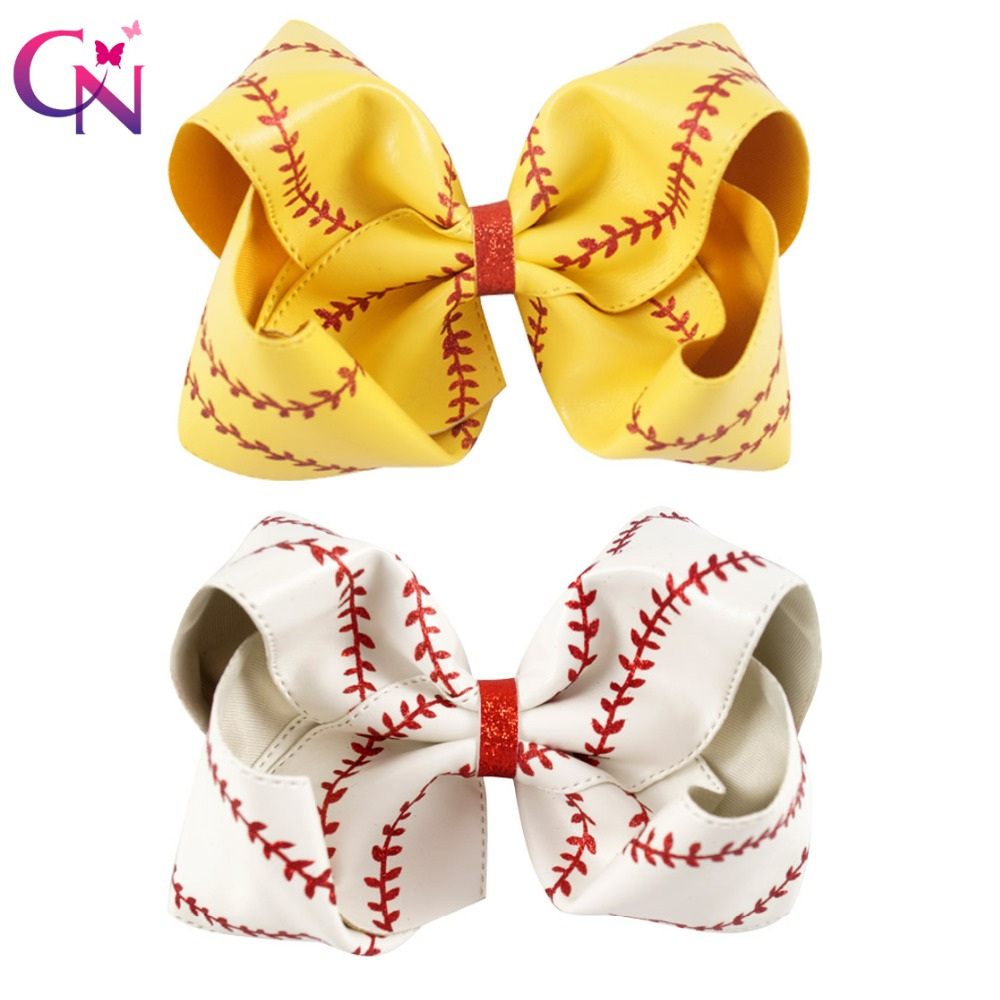 "7"" Large Leather Baseball Hair Bow With Hair Clip For Kids Girls Handmade Big Glitter Softball Bow Hairgrips Hair Accessories-in Hair Accessories from Mother & Kids"