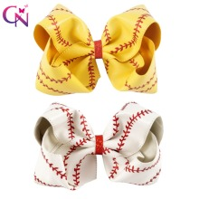 "7"" Large Leather Baseball Hair Bow With Hair Clip For Kids Girls Handmade Big Glitter Softball Bow Hairgrips Hair Accessories"