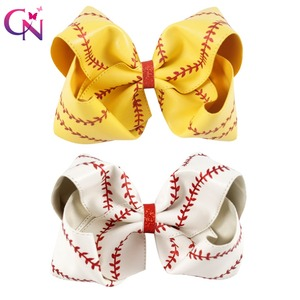 """Image 1 - 7"""" Large Leather Baseball Hair Bow With Hair Clip For Kids Girls Handmade Big Glitter Softball Bow Hairgrips Hair Accessories"""