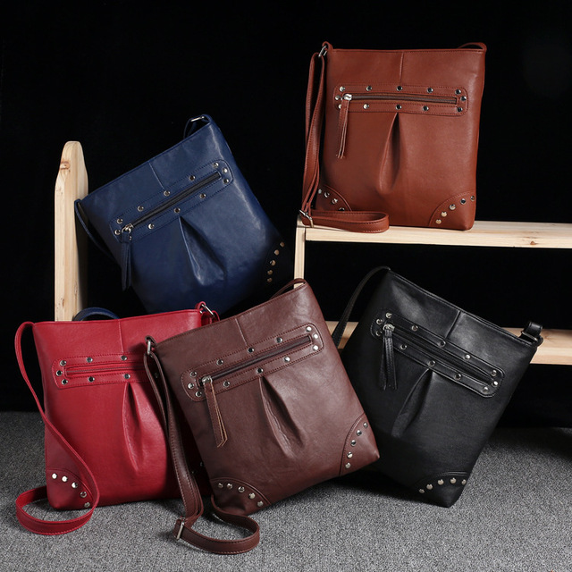 Hot design women Messenger bags for shoulder Crossbody bags rivet bag women leather bags women handbag brands bolsa feminina