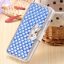 Luxury Handmade Leather Diamond Flip Cover Wallet Smartphone Phone Case For Samsung Galaxy A3 A5 A7 /S6 S6Edge S6Plus Card Slot