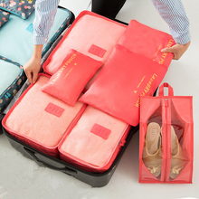 7pcs/set travel storage bags waterproof suitcase bag organizer for clothes tidy organizer home closet divider container