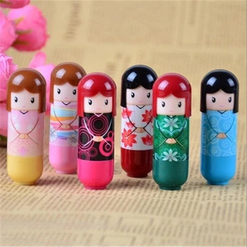 6pcs/lot Fashion cute Waterproof Cartoon Kimono Doll Lip Balm Long Lasting Moisturizing Lipstick smackers Women Lips Makeup 1