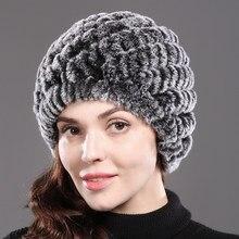 Ruso invierno nieve sombrero de piel mujeres hechas a mano genuina del  conejo Rex Fur Skullies cfc61fef92a