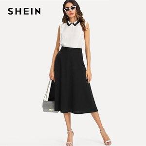 Image 4 - שיין שחור אלגנטי סלנט כיס צד מעגל אמצע מותניים ארוך חצאית קיץ נשים משרד ליידי Workwear מוצק חצאיות