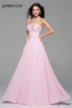 2017 New Sweetheart Long Prom Dress Appliques Crystal Bead Evening prom dress Chiffon Bridesmaid Dresses