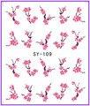1X etiqueta engomada del clavo elegante flor del ciruelo Water transfer pegatinas Nail Stickers Decals agua Decal Opp manga embalaje SY109