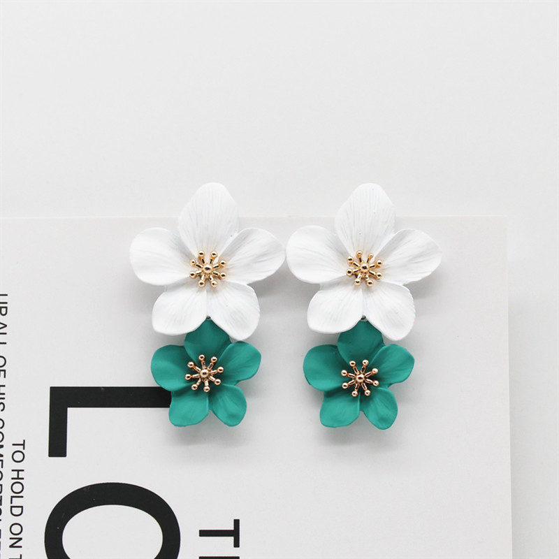 Hot Fashion Jewelry Big Flowers Mixed Color dangle Earrings Beach Resort Party Statement earring for gift for woman