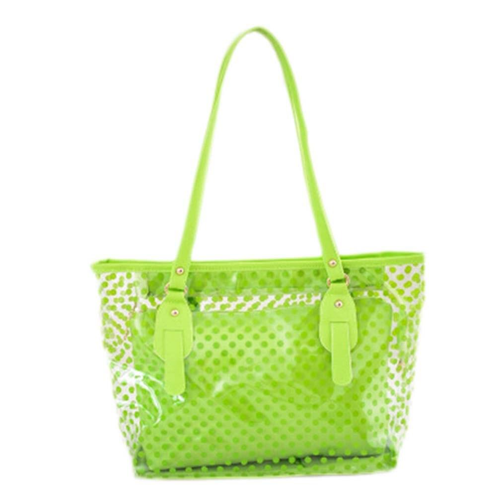 New Women Handbags Summer Wave Point Candy Shoulder Bag Waterproof Beach Totes Female Transparent Bags Shopping Handbags
