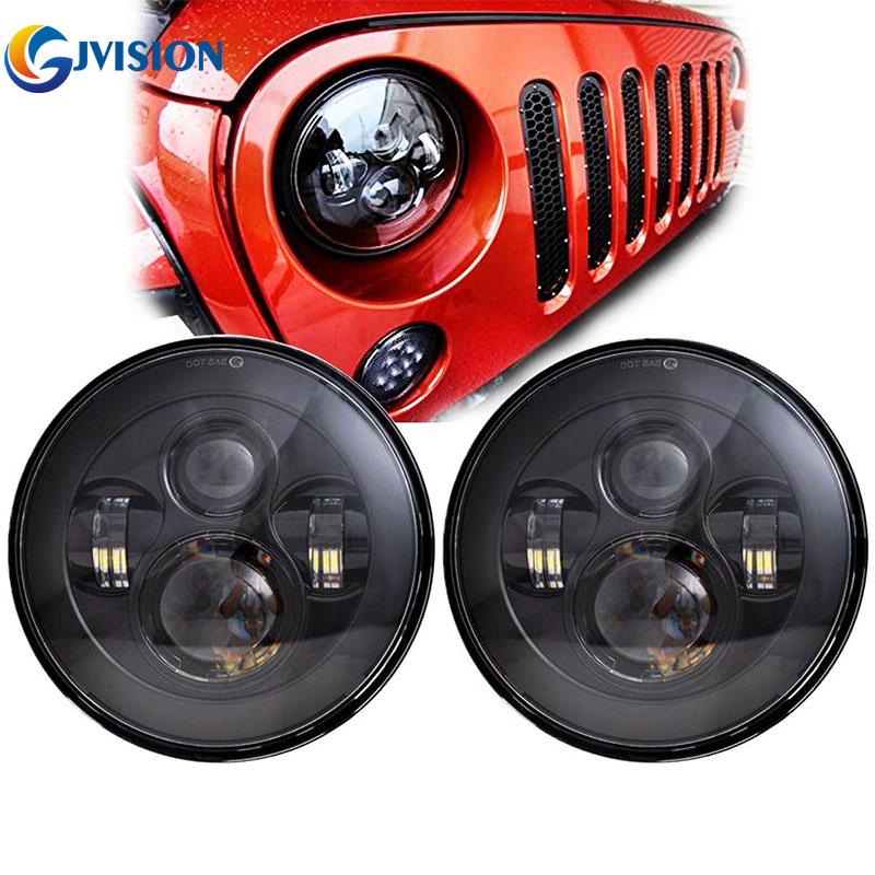 Auto 7'' Daymaker led headlight High/Low dual beam 6000K 7 INCH Round H4 Headlamp for Jeep Wrangler Hummer JK TJ Lada Niva дефлектор auto h k gt 36964