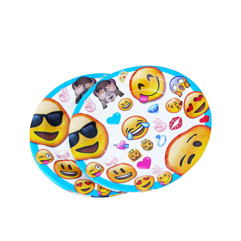 12pcs/Lot Smiley Face Expression Yellow Theme 7 Plate Birthday Party Decoration Kids Supplies Favors Event Party Supplies