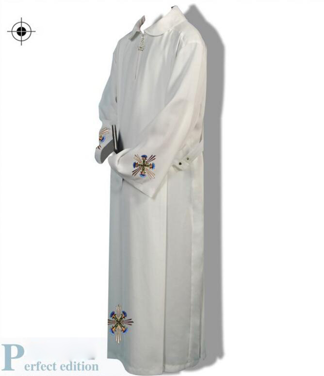 Priest clothing religious costume Roman Catholic priest father great white Church Gown Robe