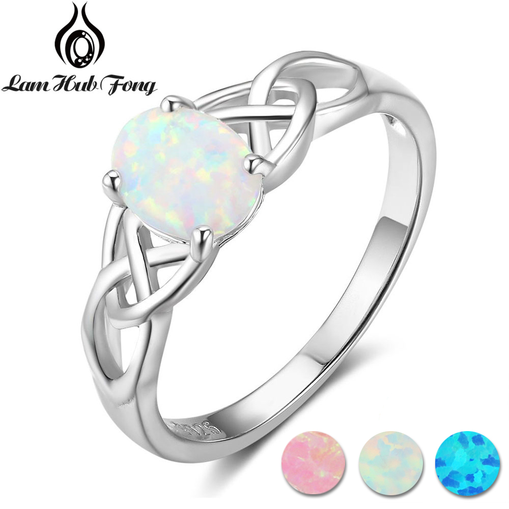 Elegant Oval White Pink Blue Opal Rings for Women 925 Sterling Silver Braided Ring Wedding Engagement Ring 6 7 8 (Lam Hub Fong) цена