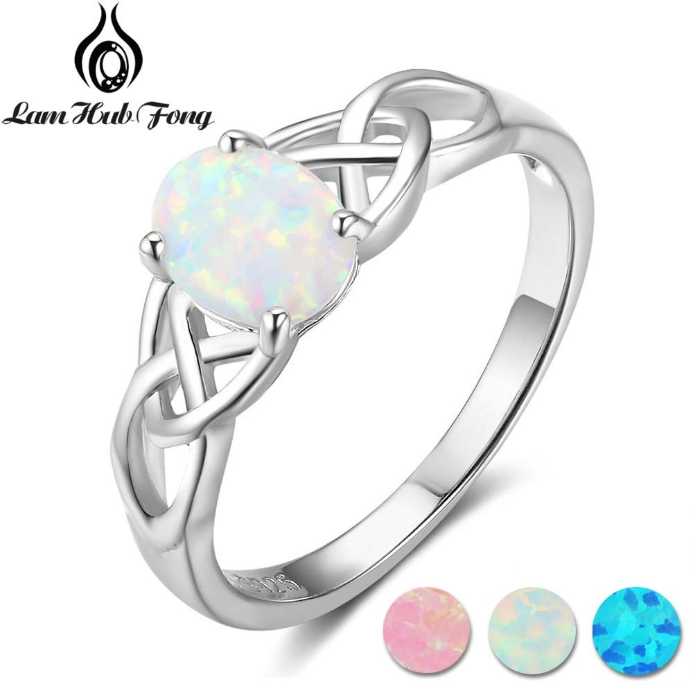 Elegant Oval White Pink Blue Opal Rings for Women 925 Sterling Silver Braided Ring Wedding Engagement Ring 6 7 8 (Lam Hub Fong) недорго, оригинальная цена