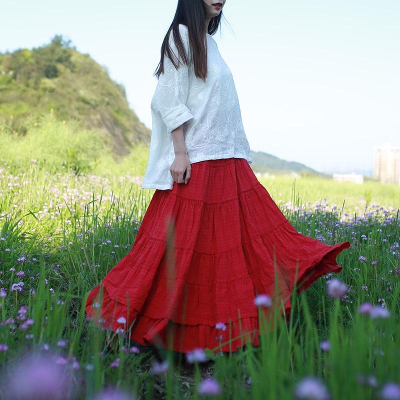 LZJN Elastická výšivka v pase Bohemian Maxi sukně ženy 2020 letní podzim Patchworková kostkovaná dlouhá houpačka Boho sukně A-Line Mori sukně