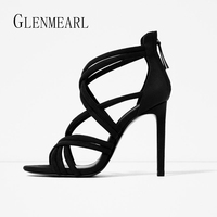 2019 Summer Sexy Plus Size High Heel Women Sandals Shoes Leather Cross Strap Thin Heel Pumps Single Lady Shoes Zip Rome ZK25