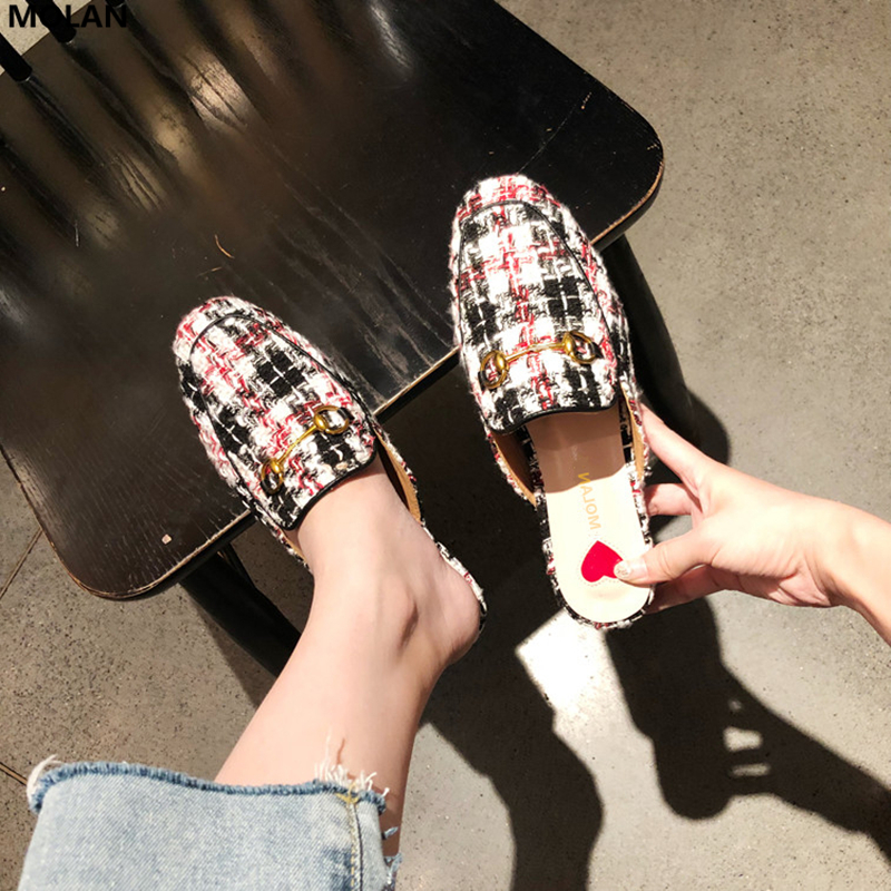 MOLAN Brand Designers 2018 New Fashion Plaid Cloth Woman Shoes Metal Chain Flat Slides Slip On Loafers Mules Flip Flops 35-41 miulamiula brand designers 2018 fashion rabbit hair woman flat slides lady shoes furry slippers slip on loafers mules flip flops