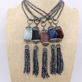 "Natural hematite faceted 3mm beads chain with faceted Opal stone & tassel pendant necklace can use to be 32"" or 16"" necklace 498"