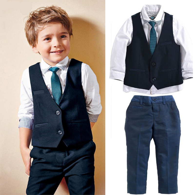 2017 summer and autumn style baby boys clothes children Tie + shirt + Vest + pants cotton school Suit clothing  kids clothes set