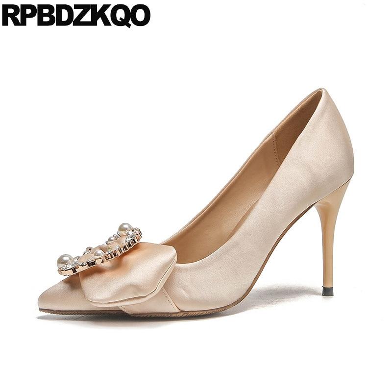 High Heels Metal Pointed Toe Pumps 3 Inch Women Bridal Silk Pearl Crystal  Nude Wedding Scarpin Satin Rhinestone Ladies Dress