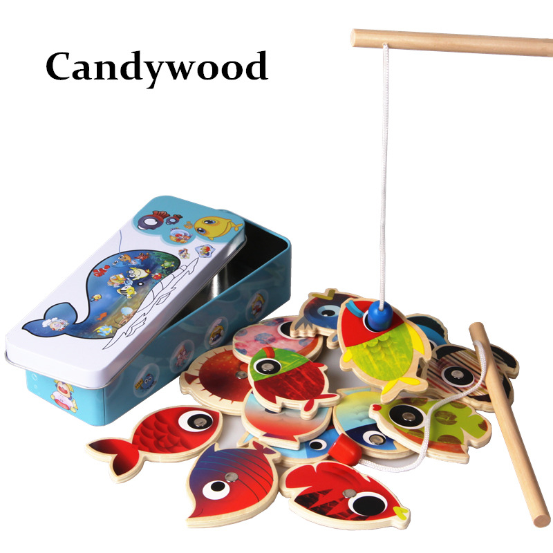 14 Fishes 2 Fishing Rods Wooden Children Toys Fish Magnetic Pesca Play Fishing Game Tin Box