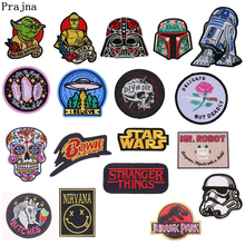 Prajna Hot Sale Star Wars Robot Skull Patch Iron On Patches For Clothes Embroidery Applique Stickers