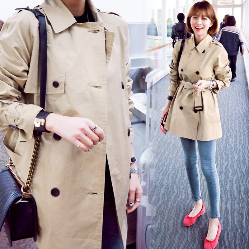limited quantity details for price Classy Spring Fall Women Khaki Petite Trench Coat Ladies ...