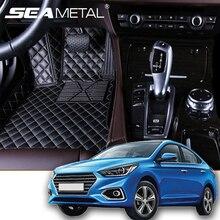 Для LHD RU hyundai Solaris 2018 2017 автомобильные коврики Carpat колодки интерьер Авто аксессуары на заказ кожа в автомобиле