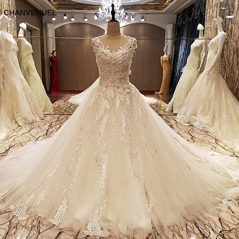LS70788 elegant lace wedding dress ball gown crystal wedding gowns with long tail robe de mariage